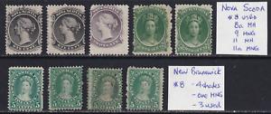 New Brunswick / Nova Scotia 1860 QV Stamp Lot  HICV