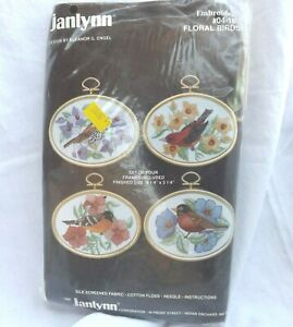 """Janlynn Embroidery Yellow Blue Flowers Floral Birds Kit of 4 with Frames 4 x 3"""""""