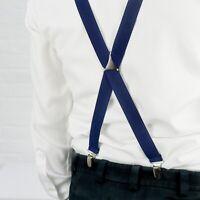 Skinny Navy Trouser Braces Elastic Suspenders Handmade in England