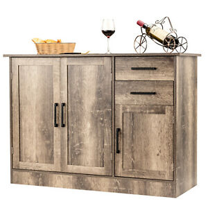 Giantex Buffet Storage Cabinet Console Table Kitchen Sideboard Drawer Natural