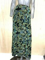 Coldwater Creek Women Large Skirt Long Maxi Pull On Stretch Travel Green Floral