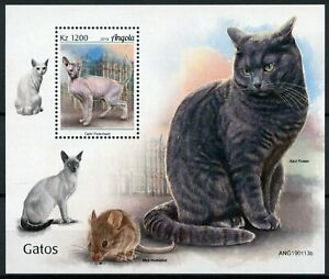 Angola Cats Stamps 2019 MNH Peterbald Russian Blue Cat Domestic Animals 1v M/S