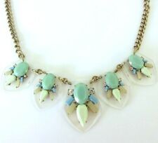 STATEMENT J CREW NECKLACE OFF-WHITE  AND GREEN WITH LUCITE