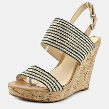"new s9.5 JESSICA SIMPSON ""JANIC"" NATURAL & BLACK ROPE WEAVE SLINGBACK SANDAL"