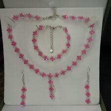 Handmade Genuine Crystal Pink Floral Set Necklace Bracelet Earrings
