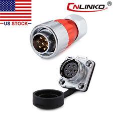 7 Pin Power Signal Connector Male Plug &Female Socket Waterproof IP67 Metal Case