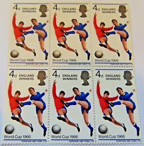GB 1966 WORLD CUP FOOTBALL ENGLAND WINNERS 4d STAMPS UNMOUNTED MINT BLOCK OF 6