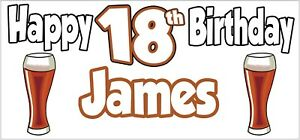 Personalised Pint of Ale 18th Birthday Banner x 2 Party Decorations ANY NAME