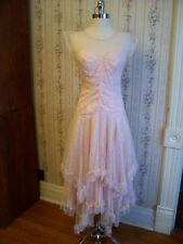 Classy Vtg 70s Penneys LAYERS OF SOFT FROTHY FLORAL LACE Lite Pink DRESS 5/6 EUC