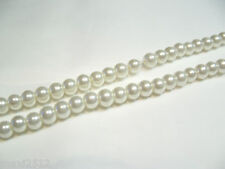 JOB LOT of 10 strings x Glass Pearl 6mm Round Beads: #66B Ivory 1440 beads