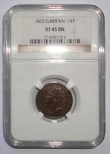 GREAT BRITAIN UK COIN  FARTHING   1825  NGC  XF 45 BN