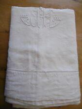 Drap en lin avec monogramme et retour echelle 305x223cms