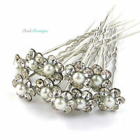 Bridal Wedding Silver Crystal Diamante & Pearl Flower Hair Pins Clips Grips HP01