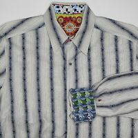 Robert Graham Large Blue White Striped Flip Cuff Long Sleeve Button Down Shirt