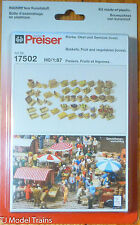 Preiser HO #17502 Baskets, Fruit & Vegetables (Unpainted) Molded in 2 Colors