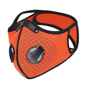 Dual-valve Breathable Sport Face Mask W/ PM 2.5 Filter (NonMedical) - Orange