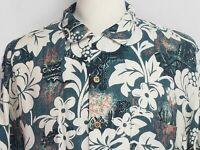 Tommy Bahama Mens sz L Green White Floral Silk Short Sleeve Hawaiian Camp Shirt