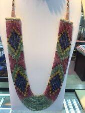 9 Strand Multicolored Sapphire Ruby Emerald Bead Necklace Mullti Natural Stone