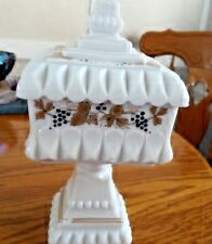 Vintage Westmoreland Raised Grape Lidded Milk Glass Candy Dish