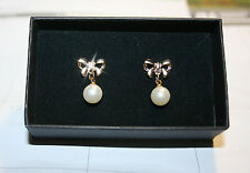Created White Pearl Bow Dangle Pierced Earrings 14k Yellow Gold over Base