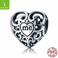 Romantic 925 Silver You & Me Flower Leaf Openwork charm Beads fit Charm Bracelet