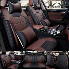 Top Mircrofiber Leather 5-Seats Seat Cover Car SUV Front & Rear Cushion w/Pillow