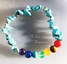 Gemstone Crystal Turquoise Chakra Beads Bracelet Birthstone Sagittarius Nov Dec