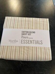 MARTHA STEWART ESSENTIALS COTTON BLEND Striped TWIN SHEET SET  NIP