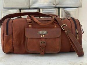 "Men Leather Travel Gym Bag Luggage Vintage Duffel Brown New 30"" Large Holdall"