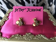Betsey Johnson Vintage Garden Case Gold Lucite Wing Bee Bug Insect Stud Earrings