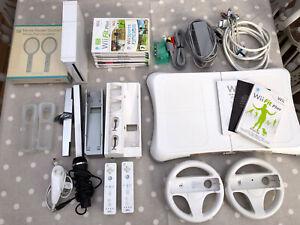 Large Nintendo Wii Bundle Inc Mario Kart, Wii Fit Plus, Balance Board & More