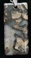 A027.  Natural Old Black&Brown Rainbow Jasper Oblong Pendant Bead 39*18*8mm