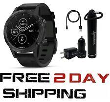 Garmin Fenix 5 Plus GPS Watch Wearable4U Black w/ Leather Band 010-01988-06