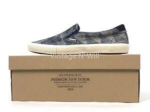 Levis Premium White Tab Mens 11 Blue Raw Denim Jean Low Top Slip-On Shoe