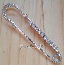 Silver Diamante Safety Pin Brooch Kilt Shawl Scarf Rhinestone Crystal Clothes