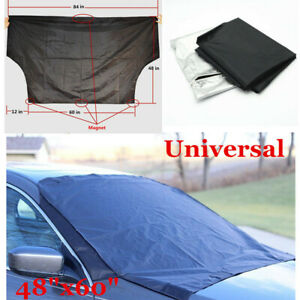 "Black Car Magnet Windshield Cover Shield Snow Frost Freeze Protector 48""x60"""