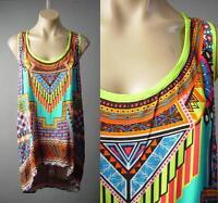 Sale Ethnic Folk Pattern Bright Colorful Travel Tank Cami Top 171 mv Shirt S M L