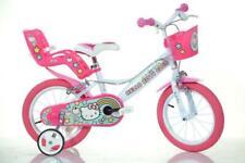 "Dino Hello Kitty White Kids Girls Bike Bicycle 14"" Spoked Wheel w Doll Carrier"