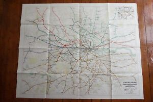 1947 London Suburbs Main Line Railways Underground Tube Quad Map Poster