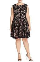 Julian Taylor Women's Plus Size cap Sleeve Lace Dress - Little Black Dress