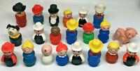 Vintage Fisher Price Little People figure LOT of 21 Figures Cowboy Fireman