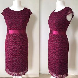 Joe Browns 12 Purple Pink Lace Shift Party Midi Dress Wedding Occasion Christmas