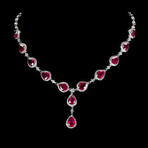 Pear Red Ruby 9x7mm Cz 14K White Gold Plate 925 Sterling Silver Necklace 20 Ins