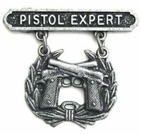 USMC US Marine Corps PISTOL QUALIFICATION EXPERT Shooting Badge Pin Oxidized