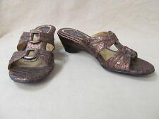 "Used LifeStride 7.5 M Bronze SnakeSkin Pattern Slide Sandals 2"" Kit Wedge Heel"