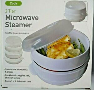 Microwave Steamer: 2 Tier Steamer Healthy meals in minutes Easy to use BPA Free