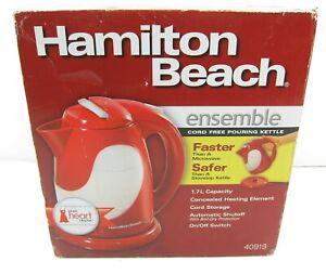 NEW Hamilton Beach 40919 Ensemble 1.7 L Cord Free Electric Pouring Kettle Red
