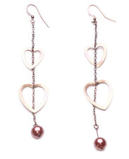 Ladies Copper / Bronze Rustic Intriguing Heart Drop Beaded Earrings (Zx62)