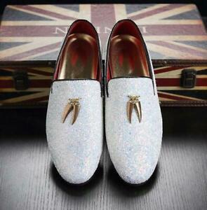 Men's Flats Loafers Glitter Sequins Tassels Slip On Dress Formal Clubwear Shoes