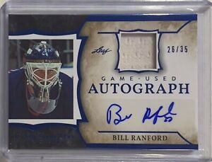 BILL RANFORD 2020 LEAF AUTOGRAPH GAME USED RELIC CARD #/d 26/35 NHL ICE HOCKEY